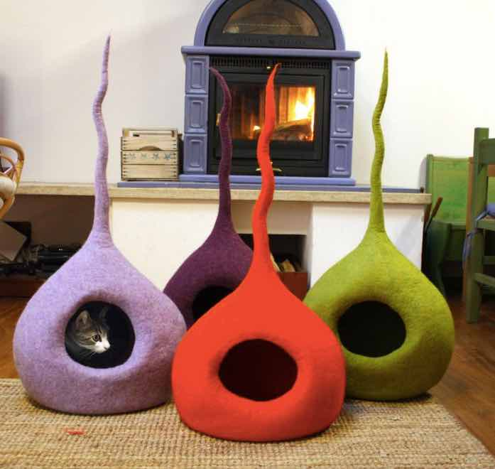 felted wool cat cave